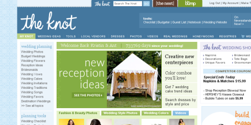 The Knot's informative, docile home page