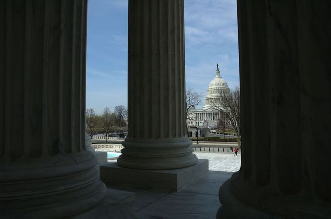 The view of the Capitol from the steps of the Supreme Court