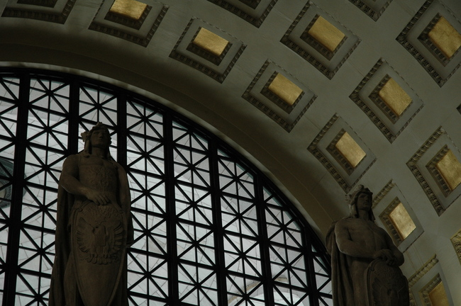 Statues adorn the interior of Union Station