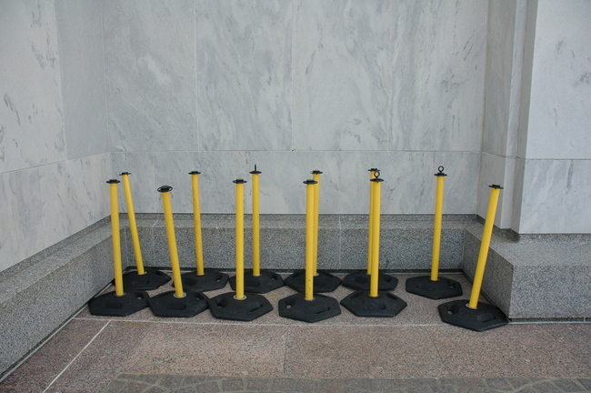 A cluster of cordon-stands outside The Library of Congress