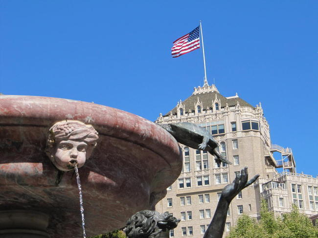 The fountain with the InterContinental Hotel as a backdrop