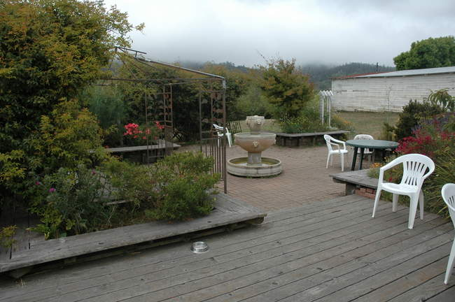 A patio outside of Point Reyes Station